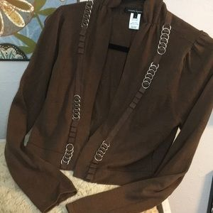 New Nanette Lepore Crop Cardigan Metal Accents S!